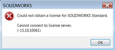 1 could not obtain a license for SOLIDWORKS Standard