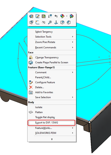 Export to DXF DWG