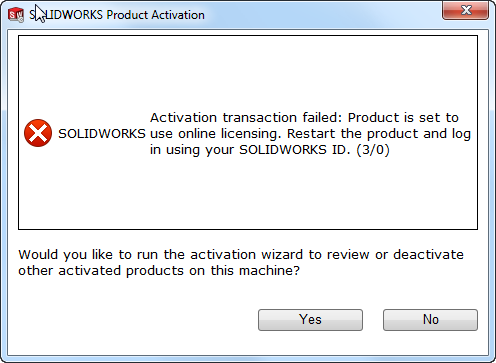 SOLIDWORKS pop-up Product Activation failed na omzetten stand-alone licentie naar Online Licensing