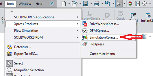 Xpress Products in SOLIDWORKS menu