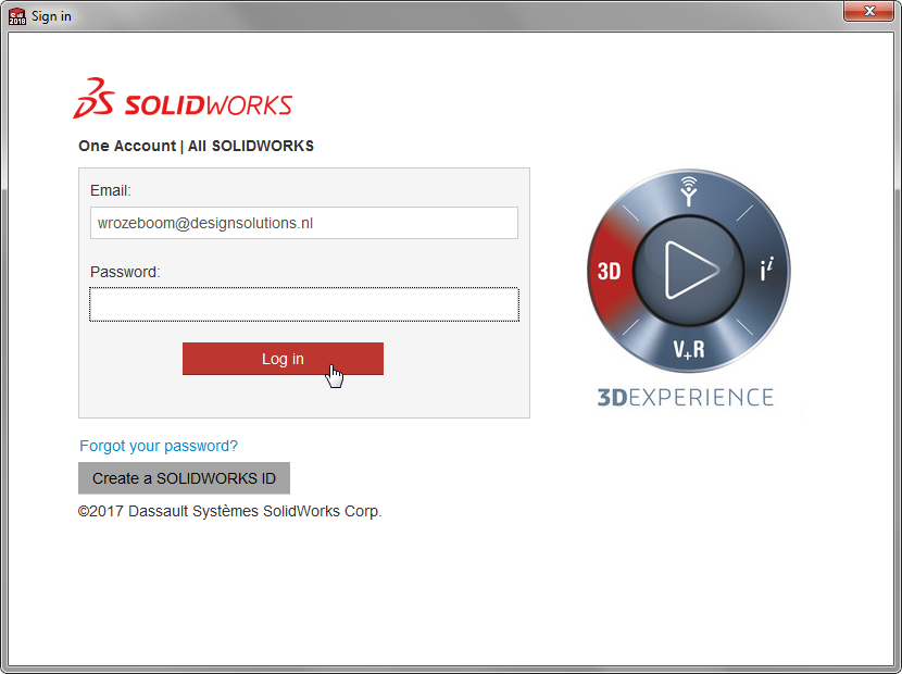 SOLIDWORKS login scherm voor je MySOLIDWORKS account